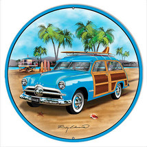 Ford Woodie Blue Metal Sign By Rudy Edwards 24x24 Round - $83.16