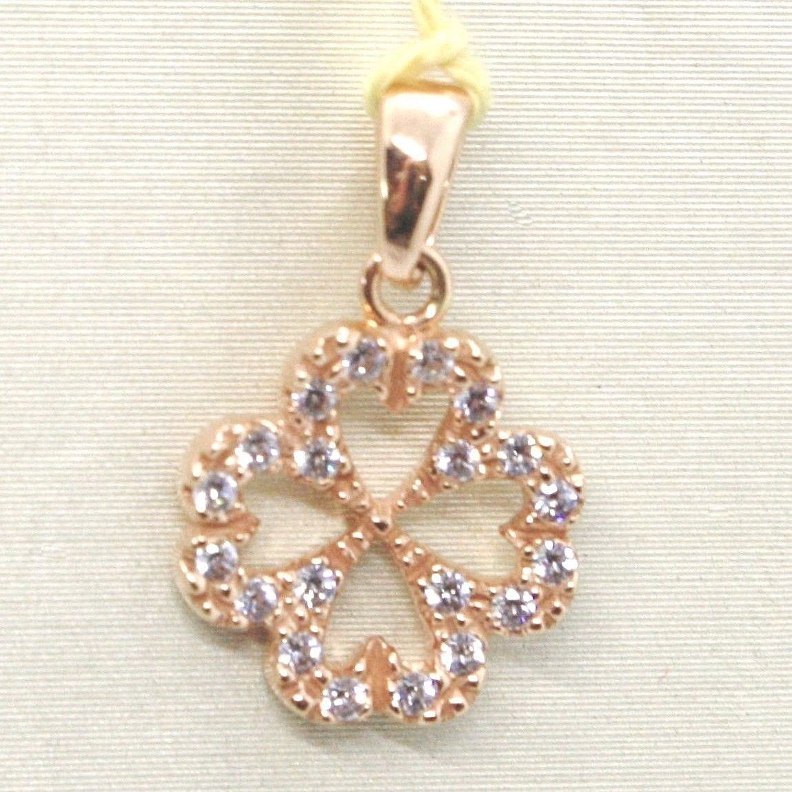 PENDANT ROSE GOLD 750 18K, FOUR-LEAF CLOVER WITH ZIRCON, MADE IN ITALY