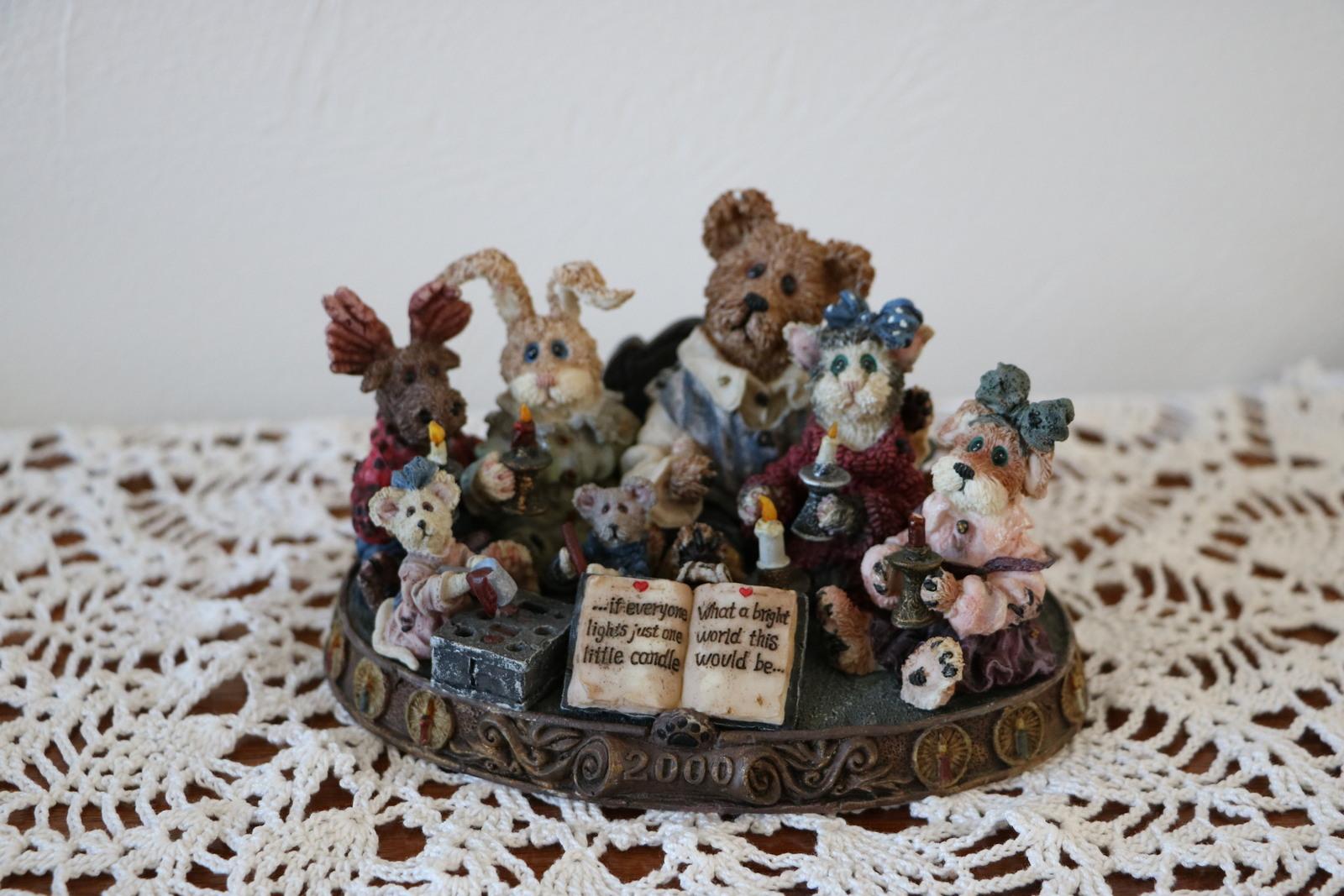 Boyds Bear Resin Bearstone 227805 Bear, Moose, Rabbit, Cat, Dog, Mice Light A Ca