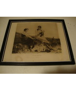 1884 Antique black and white picture in frame /By The Seaside / cleaned ... - $93.50