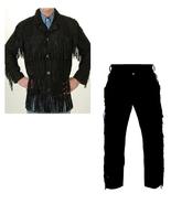 Men's New Native American Buckskin Black Suede Leather Fringes Shirt & P... - $179.00+