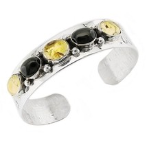 Native American Sterling Silver Cuff Bracelet with Onyx and Amber - €75,65 EUR
