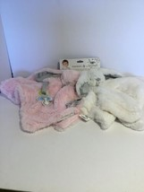 Blankets and Beyond 2pack Pink/White Bunny Rabbit Blanket Plush Binky Lo... - $24.75
