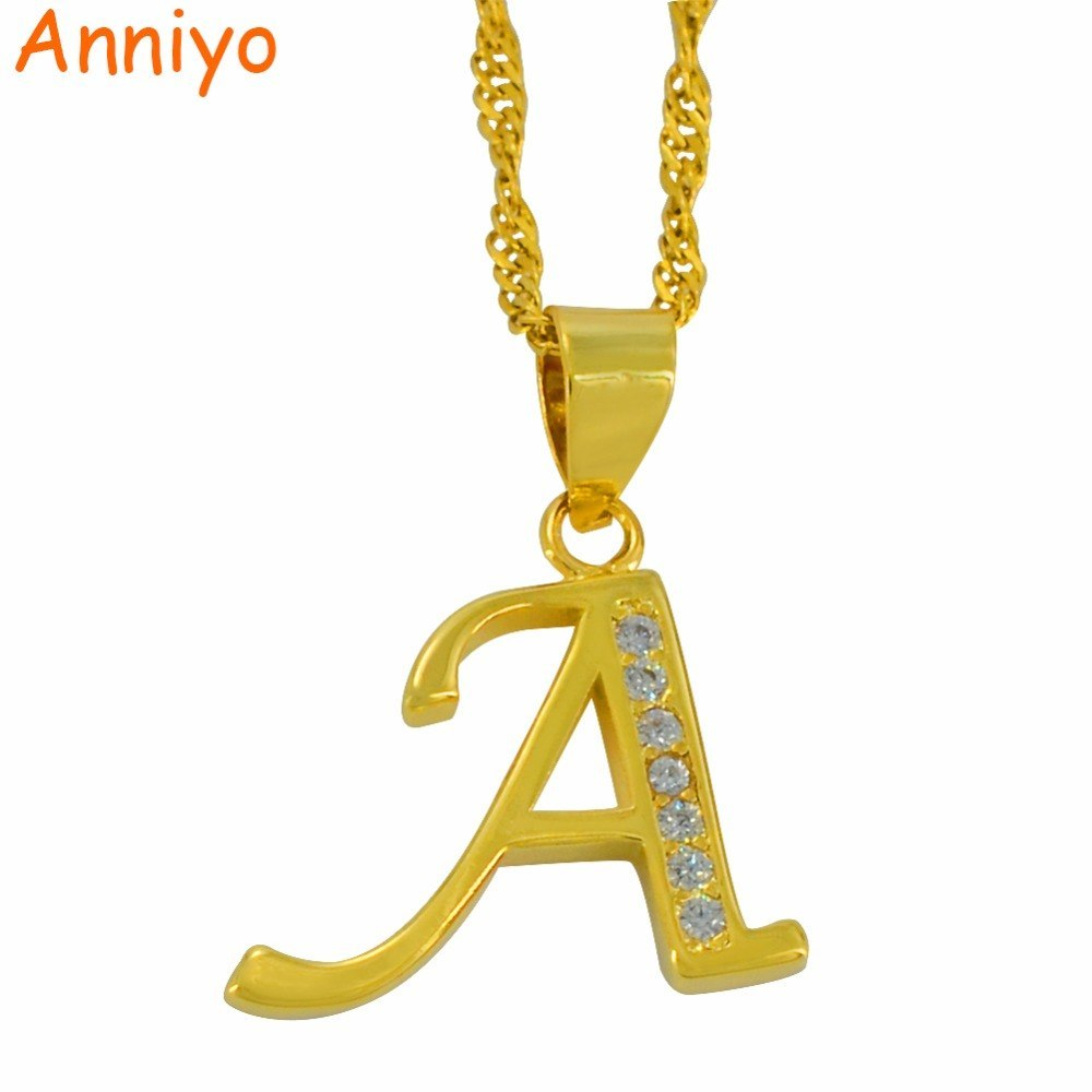 Primary image for A Z Letters Necklaces Gold Color Alphabet Initial Pendant Chain Women