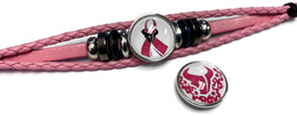 Breast Cancer NFL Houston Texans Pink Leather Bracelet W/2 Snap Jewelry Charms image 4