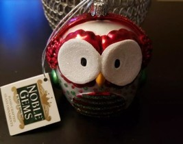 "Kurt S Adler Noble Gems Glass Owl Christmas Ornament NWT Free Shipping 3.5"" Tall - $14.84"
