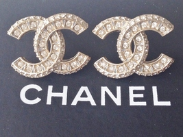 CHANEL GOLD XL LARGE CRYSTAL CC STUD EARRINGS GOLD AUTHENTIC