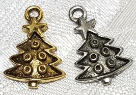 DECORATED CHRISTMAS TREE FINE PEWTER PENDANT CHARM - 12mm L x 18mm W x 3mm D