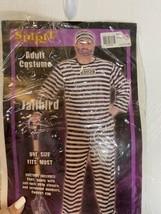 NIP Spirit Jailbird Prisoner Adult Halloween Costume One Size Shirt Pants Cap - $14.95