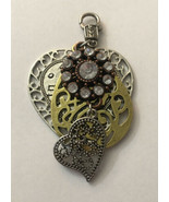 "Vintage Multi Layer Necklace Pendant Hearts & Jeweled Round 2"" Diameter  - $5.70"