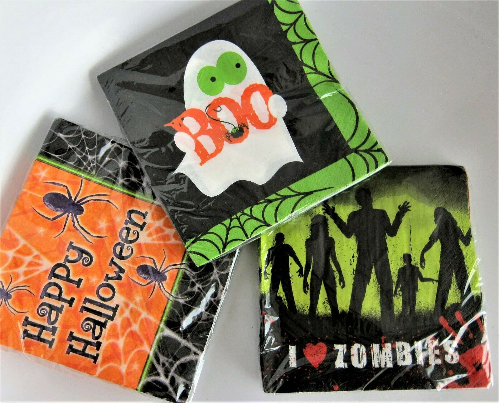 Primary image for 48-pc Happy Halloween Zombies Boo Lunch Dinner Paper Napkins Made USA 2-Ply 13""