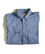 Eagle Crest 2XL Pearl Snap Western Shirt Rockabilly Rodeo Blue Plaid Mens  - $18.76