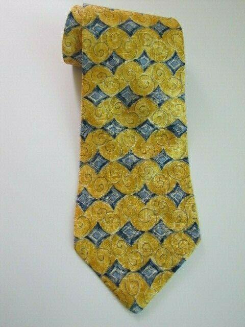NEW Geoffrey Beene Silk Necktie Yellow Blue Diamond Pattern Luxury Brand Design image 4