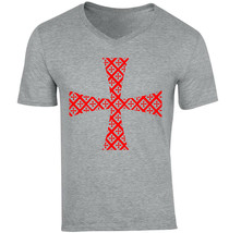 Knight Templar Pattern 19 - NEW COTTON GREY V-NECK TSHIRT - $20.70