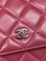 100% AUTH CHANEL WOC Quilted Lambskin Red Wallet on Chain Flap Bag SHW image 7