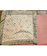 Just Born Baby Blanket Oh So Cute Elephant Hearts Minky Dot Pink Gray Satin - $19.78