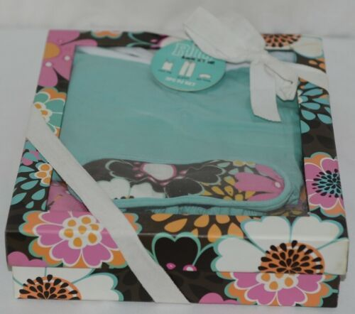Room It Up PJS6218SM 3 Pc Womens Aqua Brown Color Floral Pattern Pajama Set