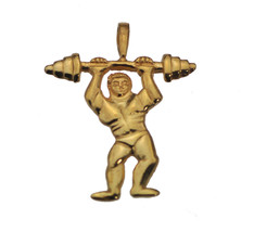 24K Gold Pltd Sterling silver weight lifter charm Body Builder Bulking S... - $18.43