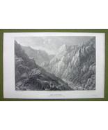 GERMANY Saxony Bode Gorge Rosstrappe - 1820s Copper Engraving Cpt BATTY - $7.65
