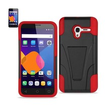 Reiko Alcatel Onetouch Pixi 3 Hybrid Heavy Duty Case With Kickstand In Red Black - $8.36