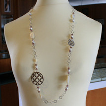 .925 SILVER RHODIUM NECKLACE WITH PURPLE CRYSTALS, WHITE PEARLS, MOTHER OF PEARL image 1