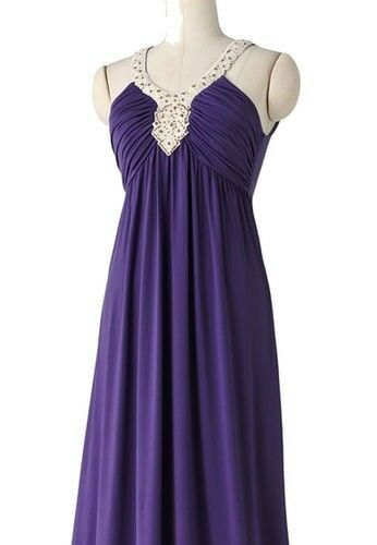Primary image for Elle Purple Embellished Crochet Empire Long V Neck Maxi Dress S