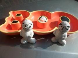 Halloween Ghost BOO Candy Dish Hallmark Orange + Mummy salt & pepper set... - $8.90