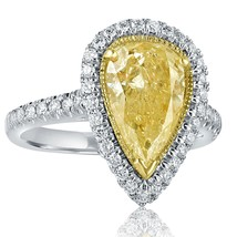 2.81 TCW Pear Shaped Yellow Diamond Engagement Ring 14k White Gold - $4,256.01