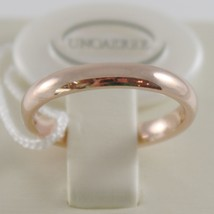 18K ROSE GOLD WEDDING BAND UNOAERRE COMFORT RING MARRIAGE 3 MM, MADE IN ITALY image 1