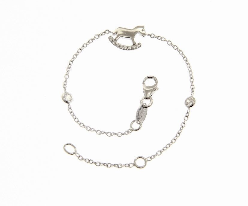 18K WHITE GOLD BRACELET FOR KIDS WITH ROCKING HORSE & ZIRCONIA  MADE IN ITALY