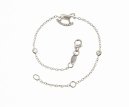 18K WHITE GOLD BRACELET FOR KIDS WITH ROCKING HORSE & ZIRCONIA  MADE IN ITALY image 1