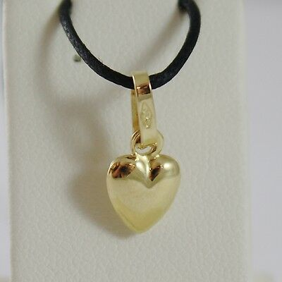18K YELLOW GOLD MINI ROUNDED HEART PENDANT CHARM, 11 MM, 0.43 INCH MADE IN ITALY