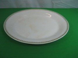 Vintage Trenle China Co Virginia Large Oval Platter Green and Gold Border - $16.79