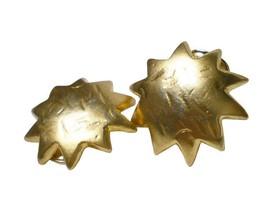 Vintage KENZO golden sun, star shape mod earrings. Chic, mod, and rare m... - $112.00