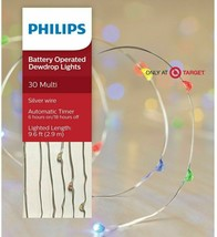 Phillips 30 ct Battery powered Multicolored Dew Drop Christmas Lights image 1