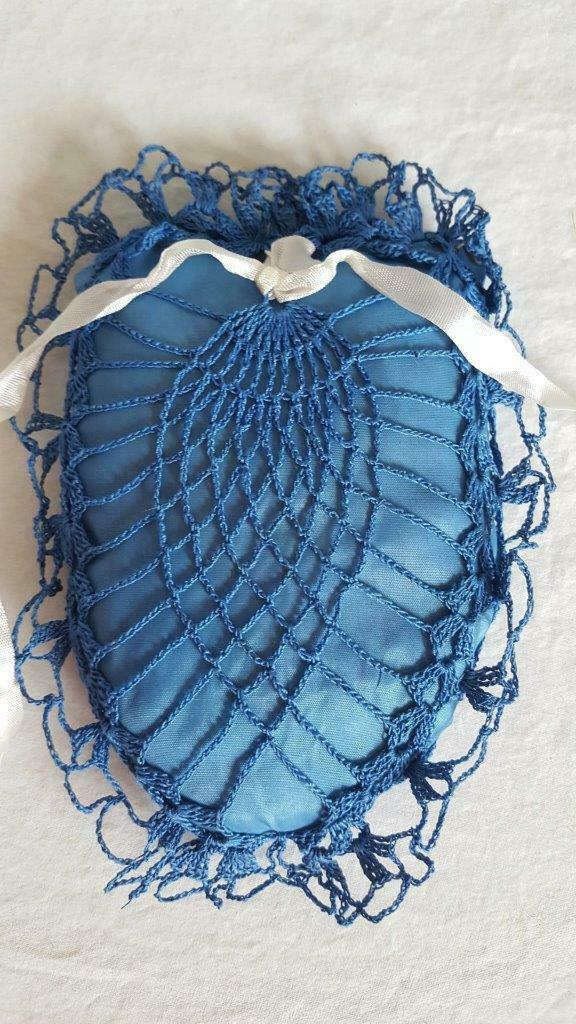"VINTAGE HAND CRAFTED CROCHETED BLUE PIN CUSHION, 6"", SATIN PILLOW,PRETTY, SEWING image 3"