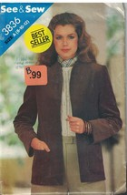 3836 Vintage Butterick Sewing Pattern Misses Loose Fitting Unlined Jacket Easy - $4.89
