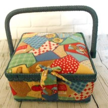 Small Quilted Fabric Sewing Blue Basket - $12.53
