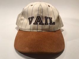Vail Baseball Hat Cap Tan Suede Brim Adjustable Beige Blue Pinstripe Cotton - $14.95