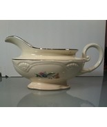 Homer Laughlin~ Gravy Boat Floral Silver Trim A49N8 Made in USA - $8.90