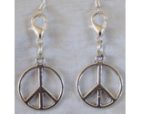 Peace Sign Symbol Handcrafted Convertible Earrings Zipper Clippers Hippie Boho