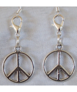 Peace Sign Symbol Handcrafted Convertible Earrings Zipper Clippers Hippi... - $7.99