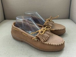 Minnetonka Moccasins Natural Moosehide Leather Kilty Moccasins #390 US 8.5 - $27.73