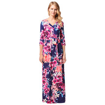 AOVEI Blue Bright Floral Print V Neck Half Sleeve Floor Length Beach Dress - $29.99