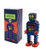 """GEARING ROBOT 5"""" Saint St. John Wind Up Blue Tin Toy Collectible Retro S... - $26.95"""