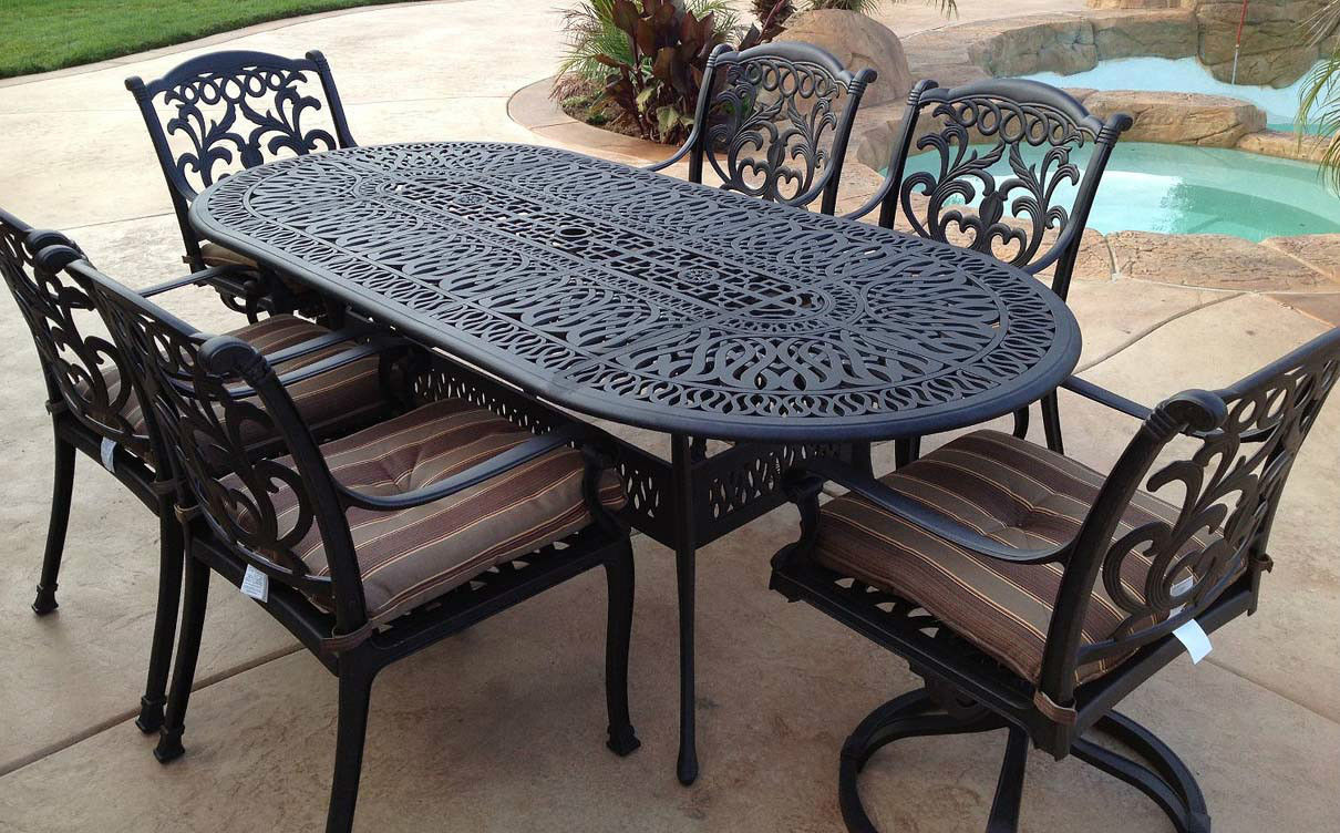 Outdoor 7 Pc Dining Set Patio Furniture Oval Table Cast