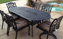 Outdoor 7 pc dining set patio furniture oval table cast aluminum chairs Bronze image 1
