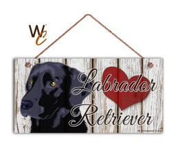 Black Labrador Retriever Sign, I Love My Labrador 5x10 Rustic Wood Pet D... - $11.39