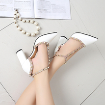 pp303 elegant pointy ankle pump w trivet edge, pu leather, US Size 5-9 w... - $42.80