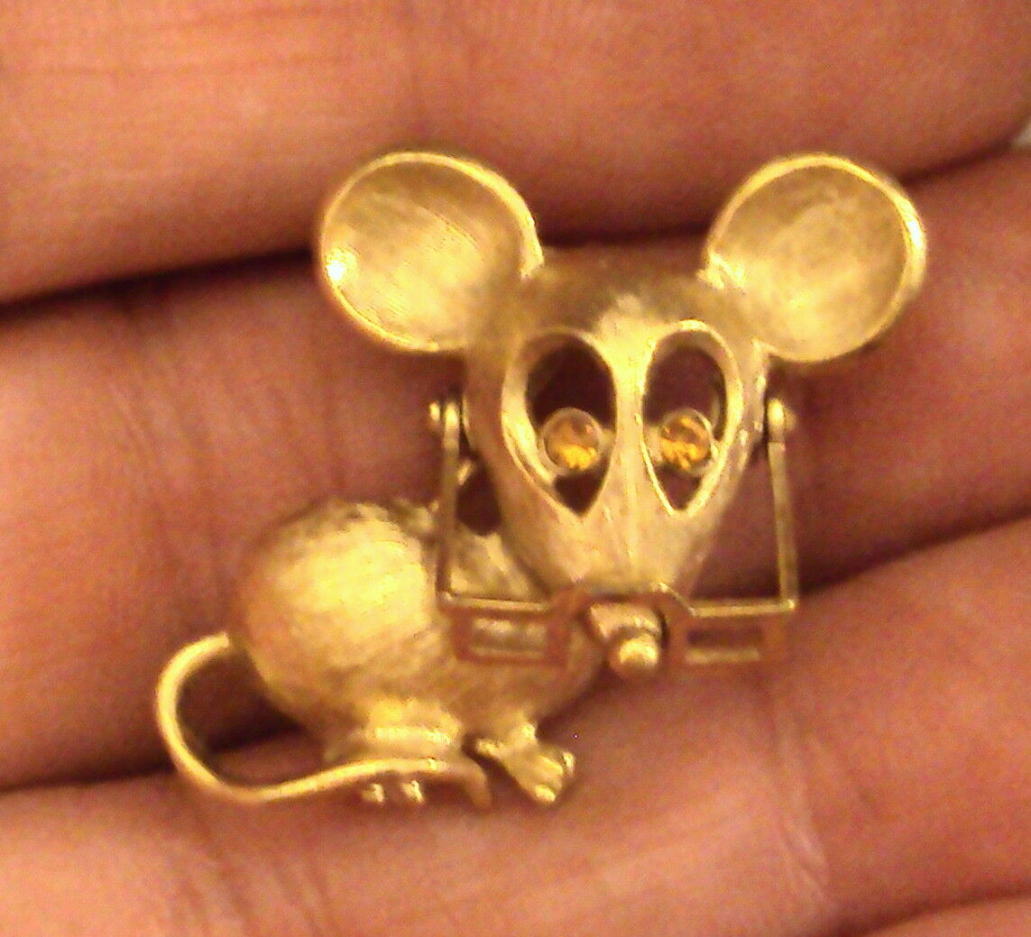 Primary image for Avon Spectacular Mouse Pin Glasses Move Rhinestone Eyes Figural Brooch VTG 1970s